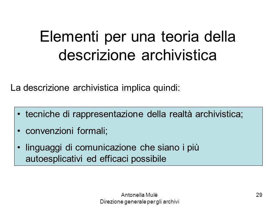Elementi per una teoria della descrizione archivistica