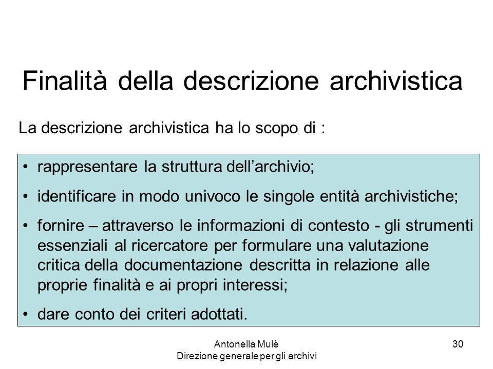 Finalità della descrizione archivistica