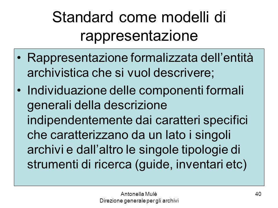Standard come modelli di rappresentazione