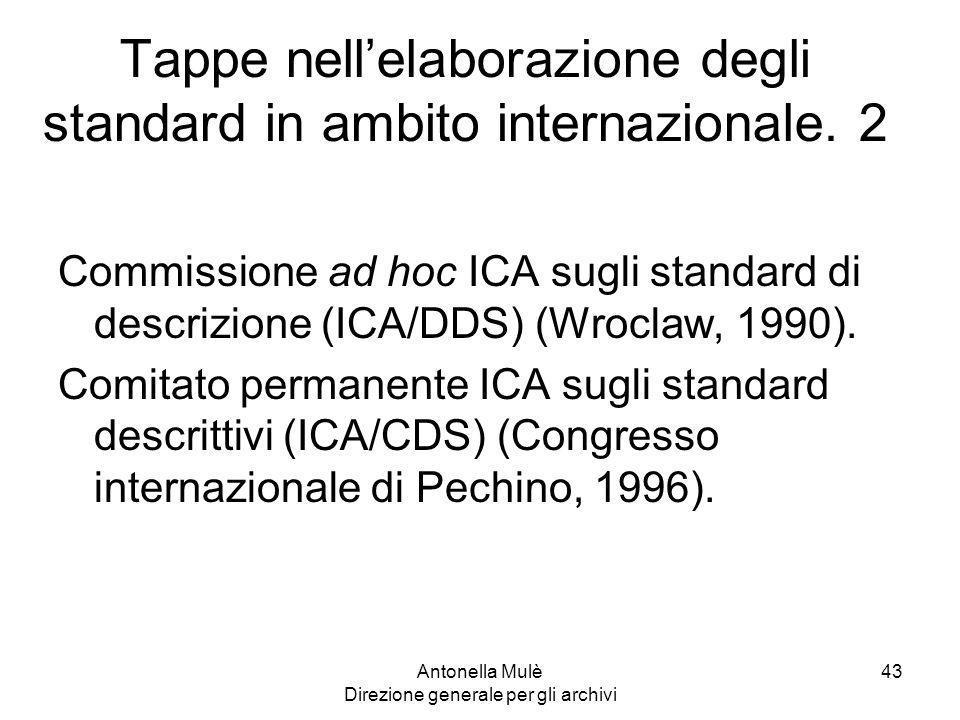 Tappe nell'elaborazione degli standard in ambito internazionale. 2