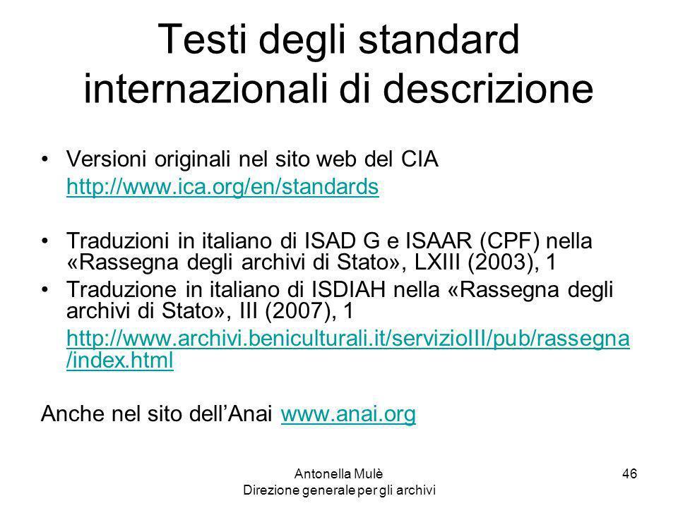 Testi degli standard internazionali di descrizione