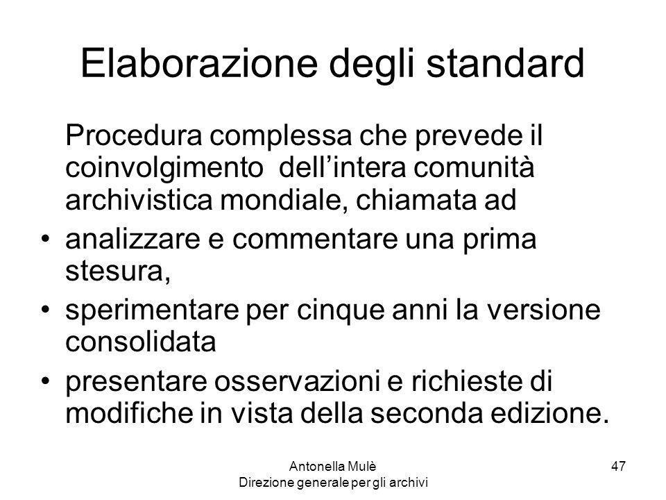 Elaborazione degli standard