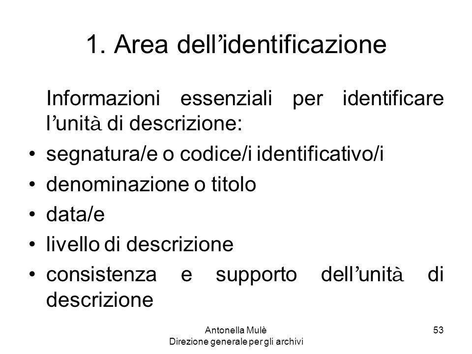 1. Area dell'identificazione
