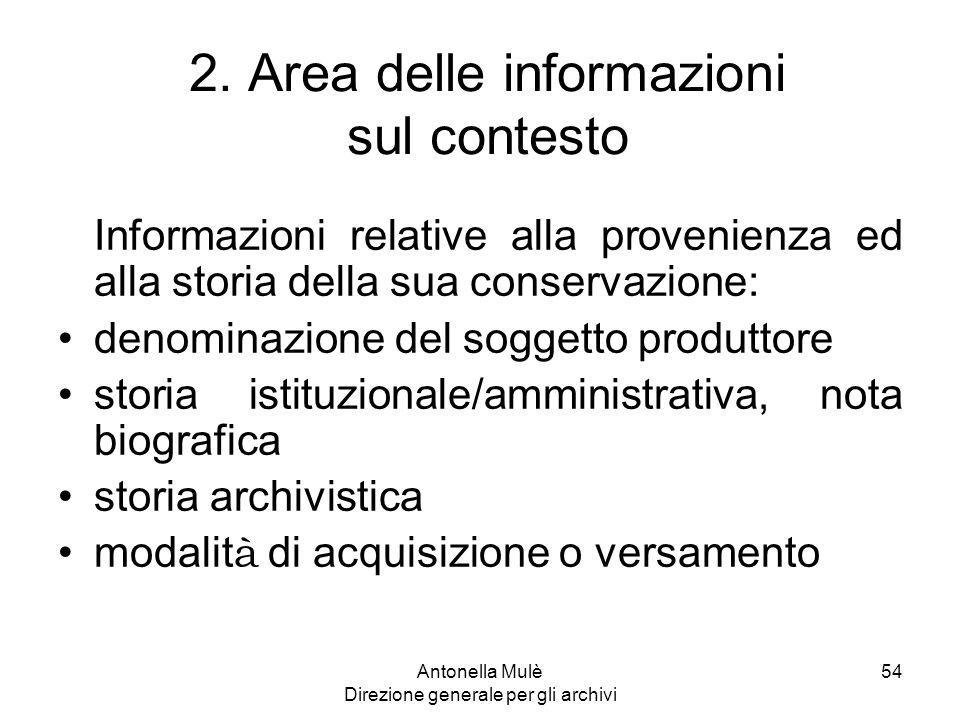 2. Area delle informazioni sul contesto