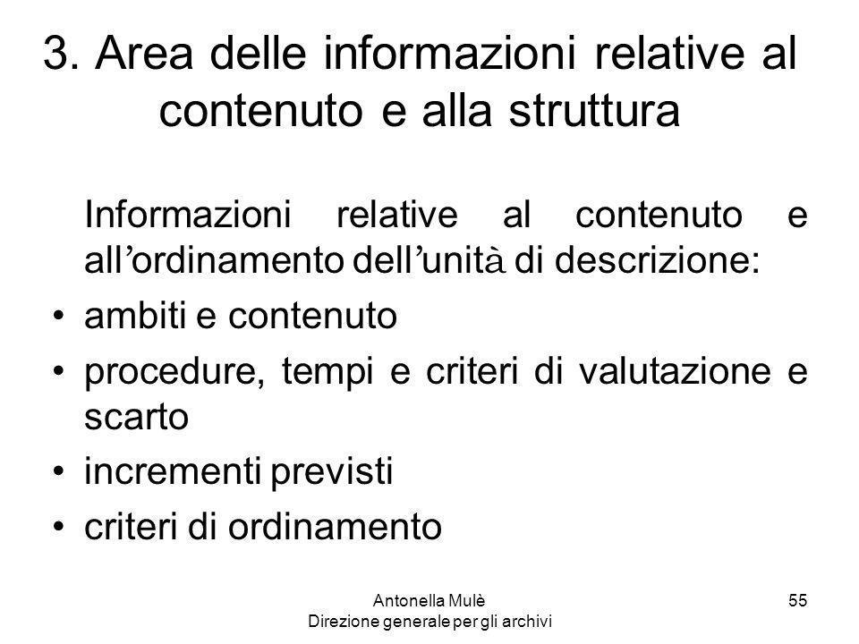 3. Area delle informazioni relative al contenuto e alla struttura