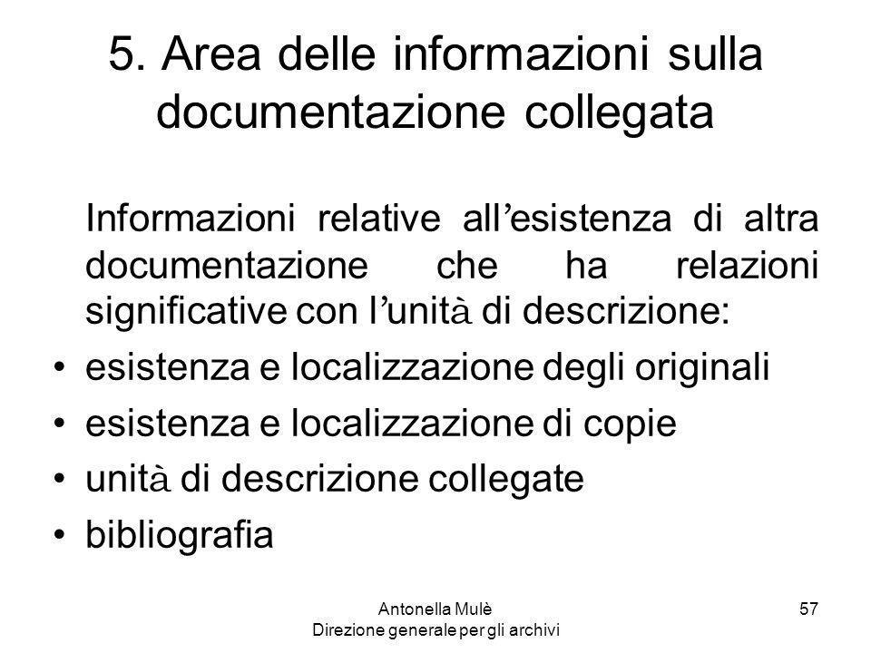5. Area delle informazioni sulla documentazione collegata