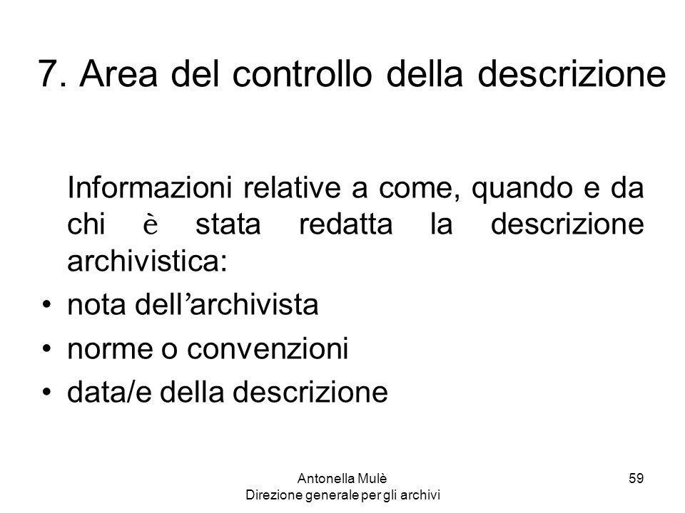 7. Area del controllo della descrizione