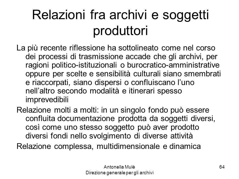 Relazioni fra archivi e soggetti produttori