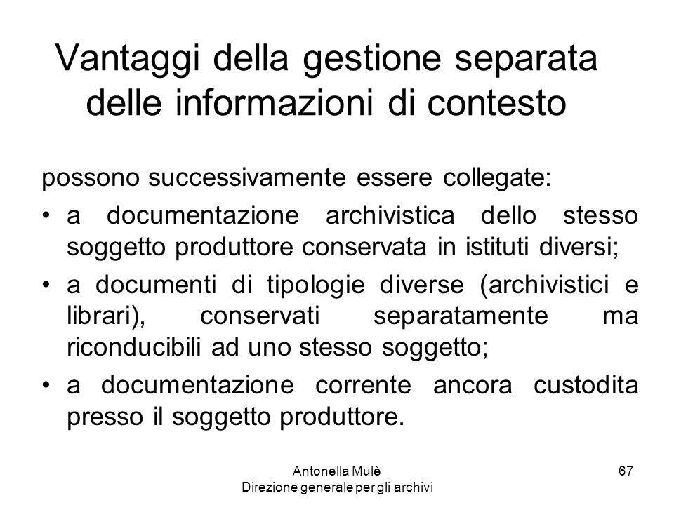 Vantaggi della gestione separata delle informazioni di contesto