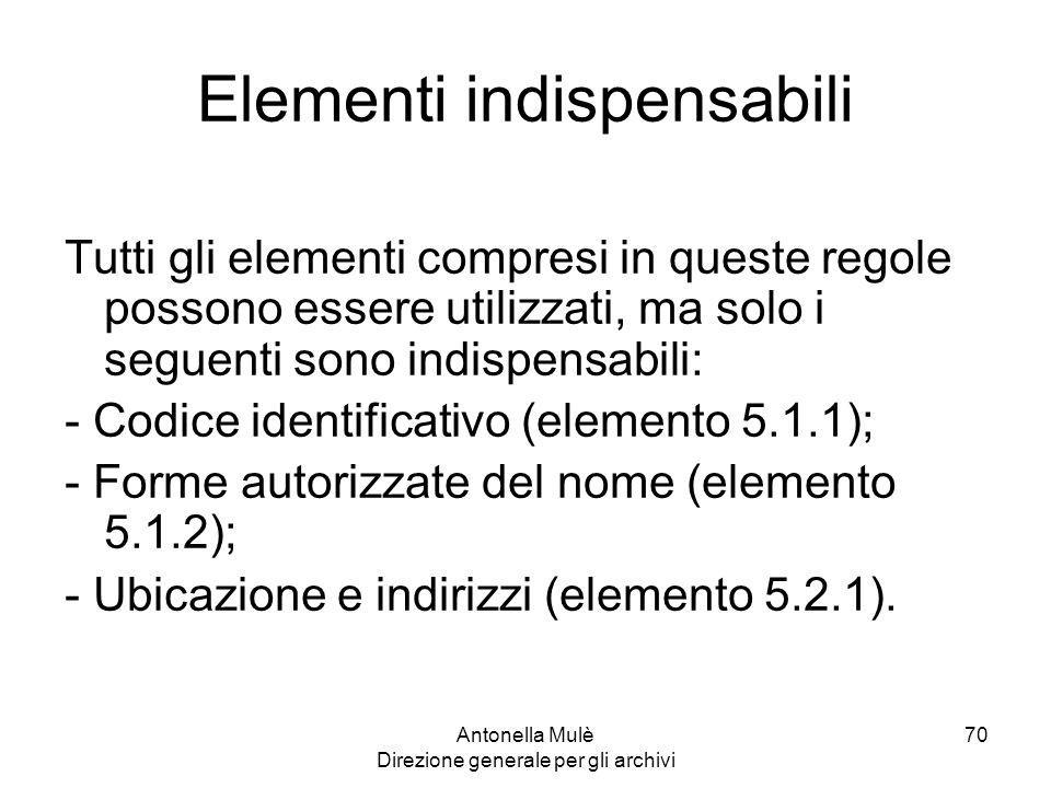 Elementi indispensabili