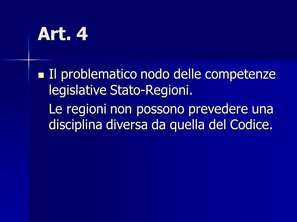 Art. 4 Il problematico nodo delle competenze legislative Stato-Regioni.