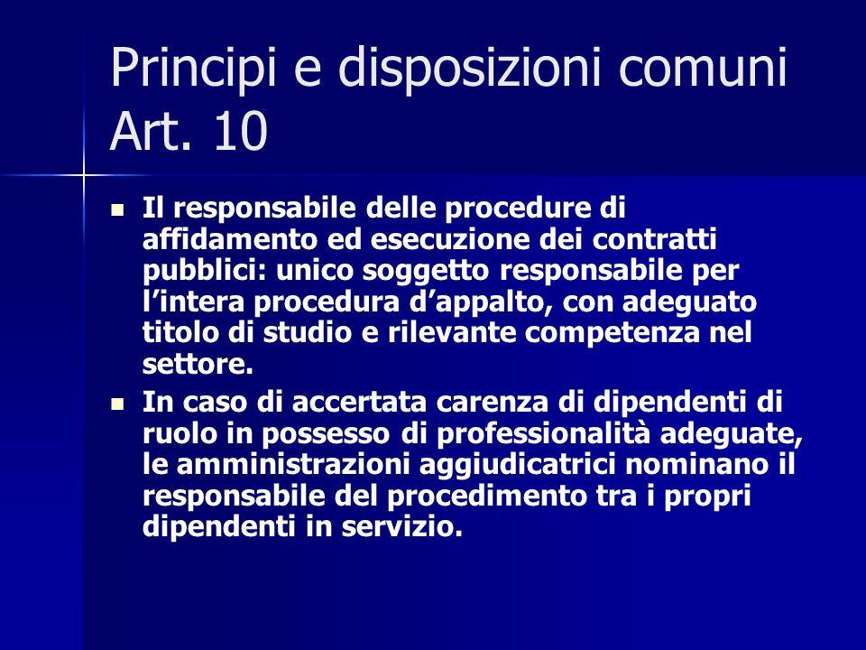 Principi e disposizioni comuni Art. 10