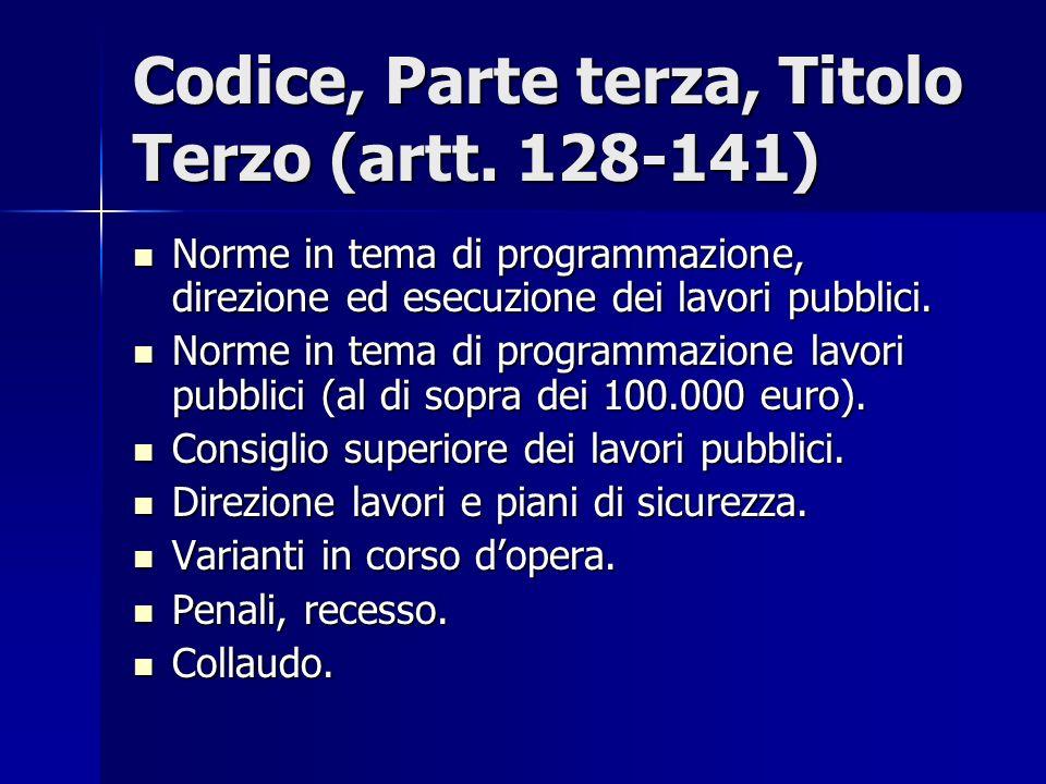 Codice, Parte terza, Titolo Terzo (artt. 128-141)