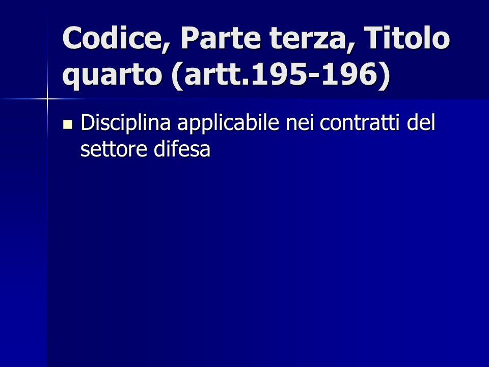 Codice, Parte terza, Titolo quarto (artt.195-196)