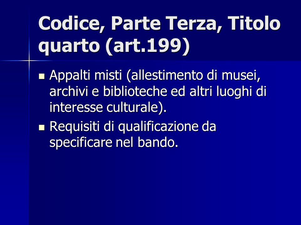 Codice, Parte Terza, Titolo quarto (art.199)