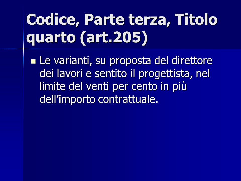 Codice, Parte terza, Titolo quarto (art.205)