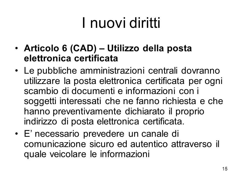 I nuovi diritti Articolo 6 (CAD) – Utilizzo della posta elettronica certificata.