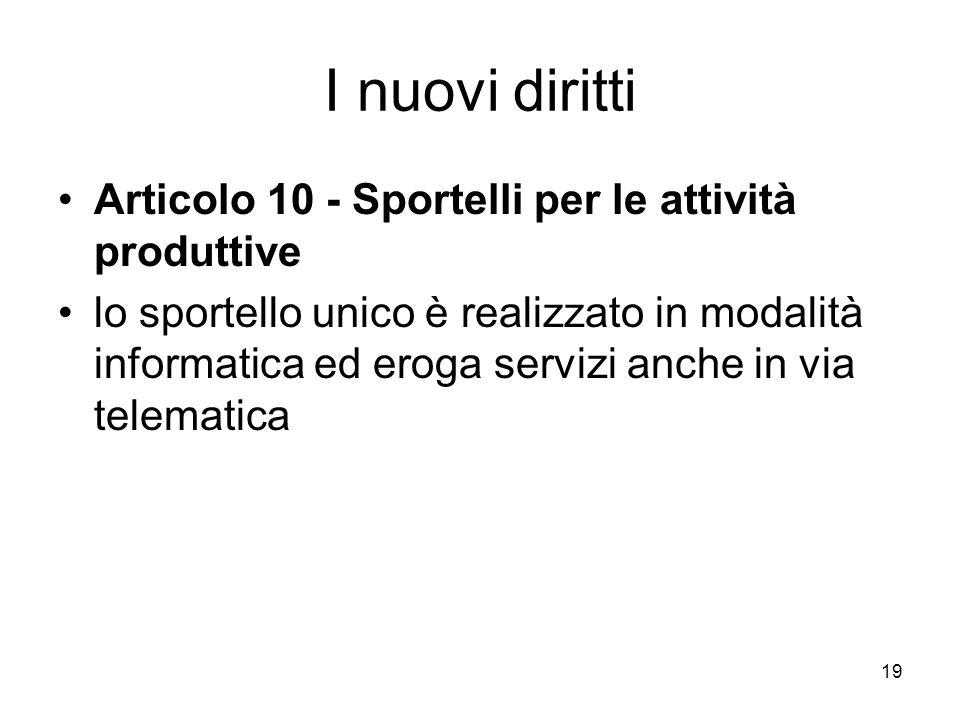 I nuovi diritti Articolo 10 - Sportelli per le attività produttive