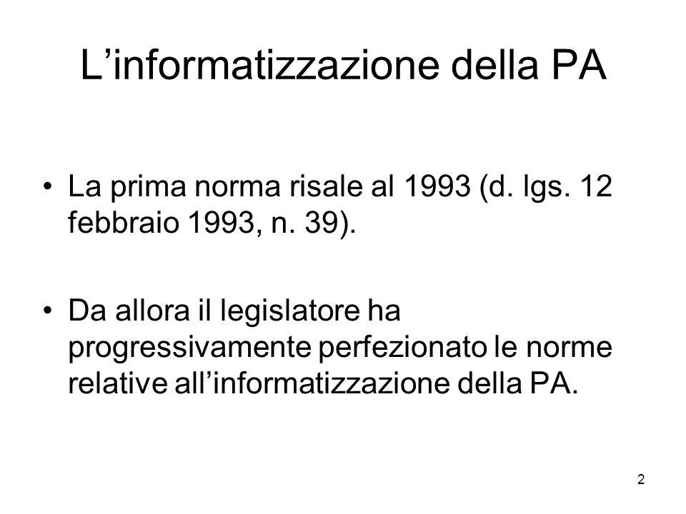 L'informatizzazione della PA
