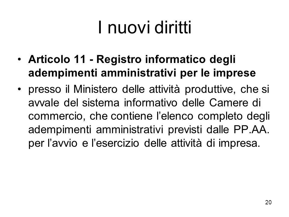 I nuovi diritti Articolo 11 - Registro informatico degli adempimenti amministrativi per le imprese.