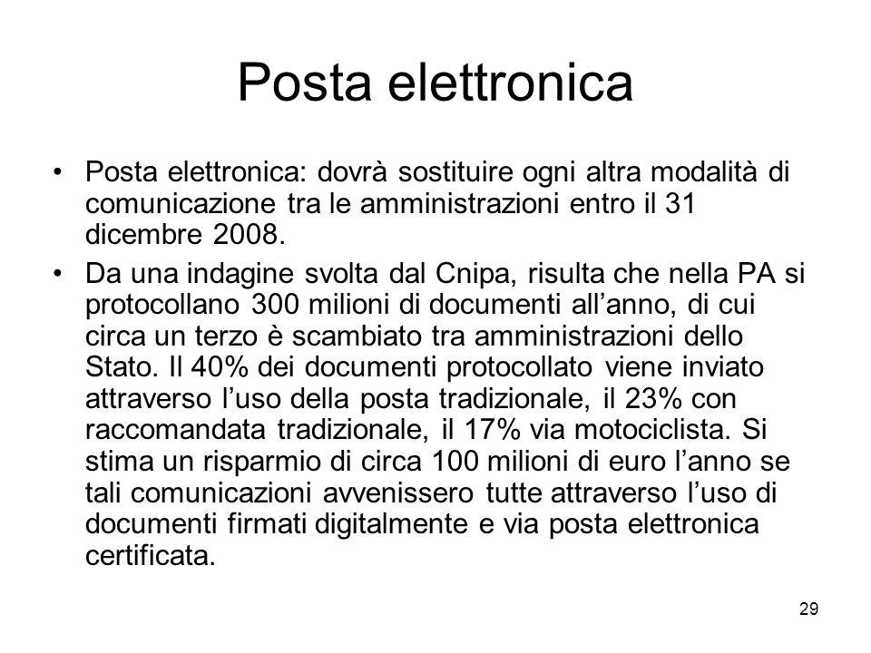 Posta elettronica Posta elettronica: dovrà sostituire ogni altra modalità di comunicazione tra le amministrazioni entro il 31 dicembre 2008.