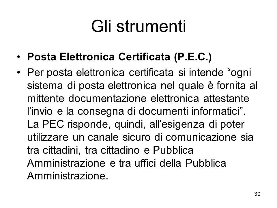 Gli strumenti Posta Elettronica Certificata (P.E.C.)