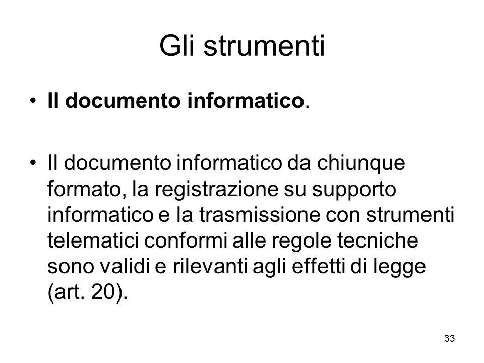 Gli strumenti Il documento informatico.