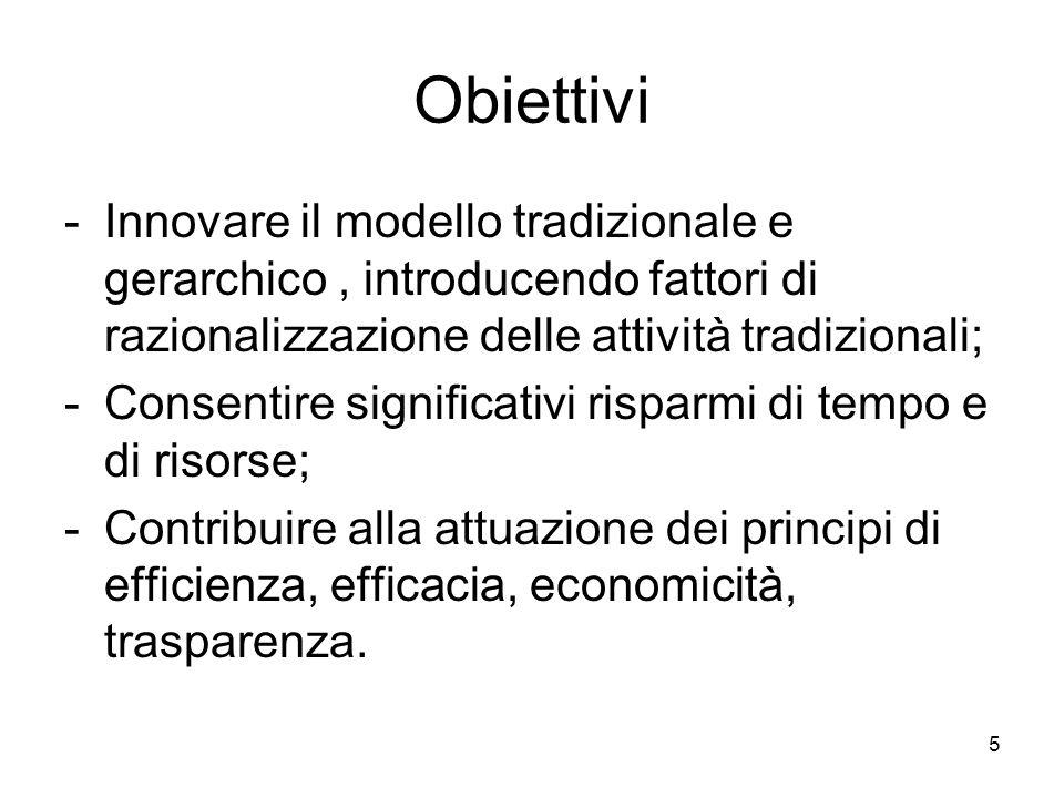Obiettivi Innovare il modello tradizionale e gerarchico , introducendo fattori di razionalizzazione delle attività tradizionali;