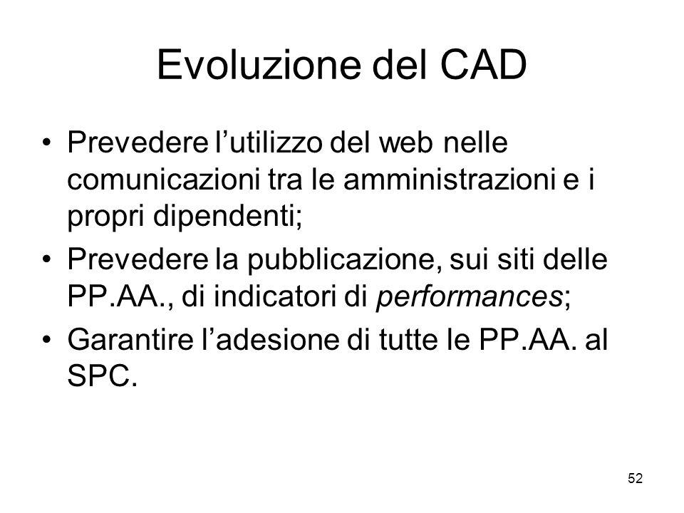 Evoluzione del CAD Prevedere l'utilizzo del web nelle comunicazioni tra le amministrazioni e i propri dipendenti;