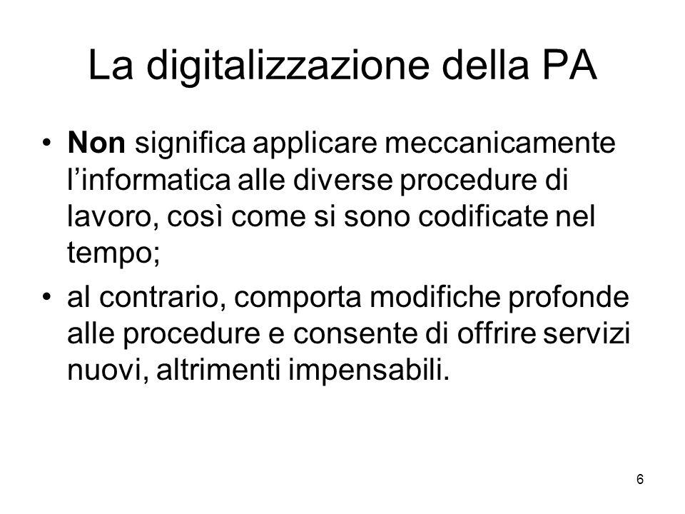 La digitalizzazione della PA