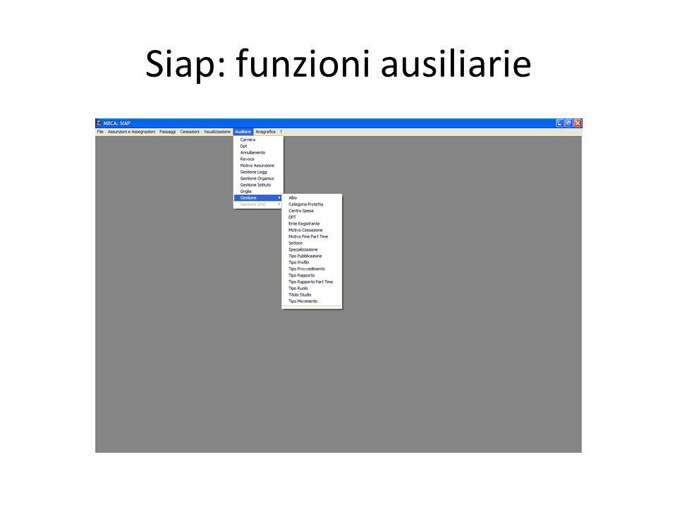 Siap: funzioni ausiliarie