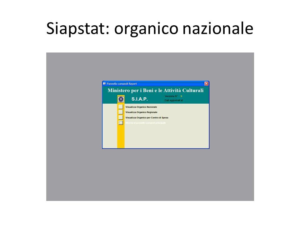 Siapstat: organico nazionale