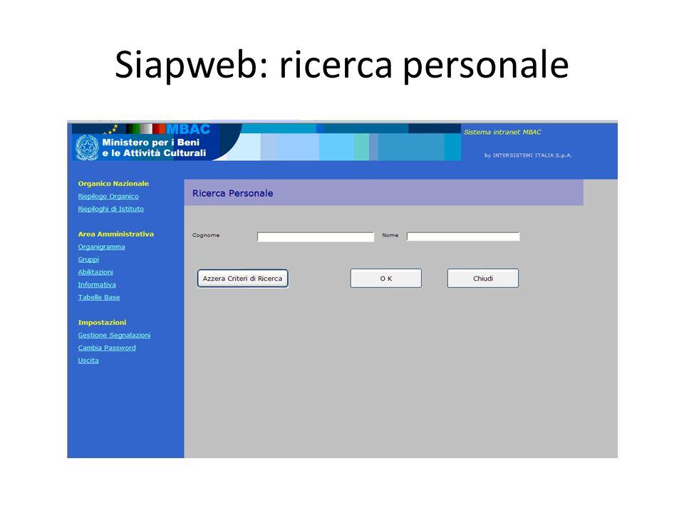 Siapweb: ricerca personale