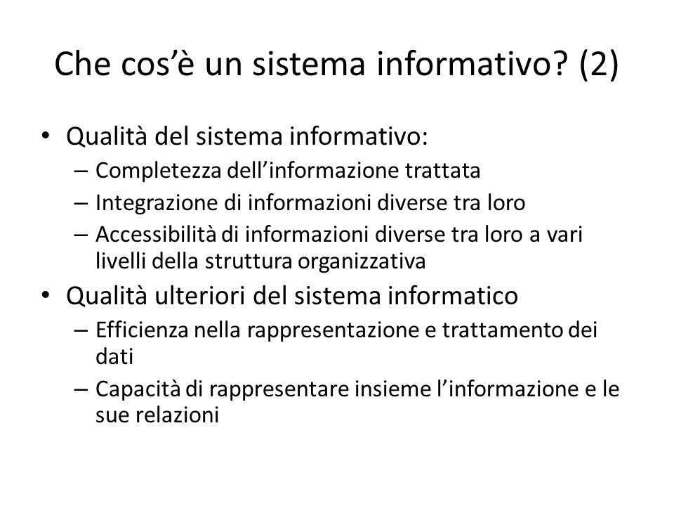 Che cos'è un sistema informativo (2)