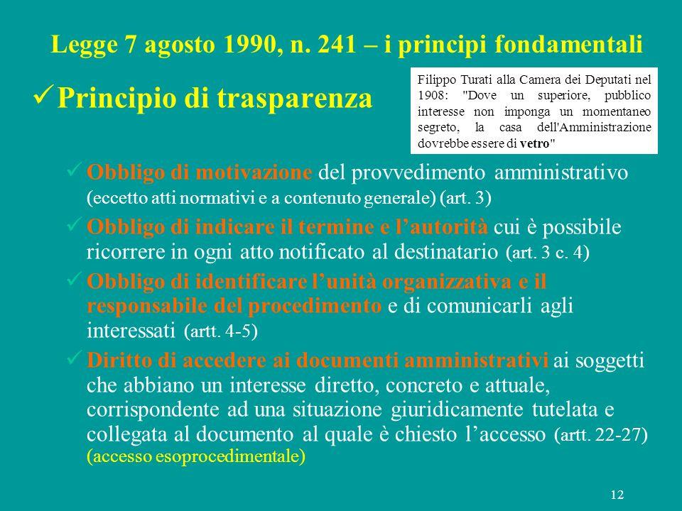 Legge 7 agosto 1990, n. 241 – i principi fondamentali