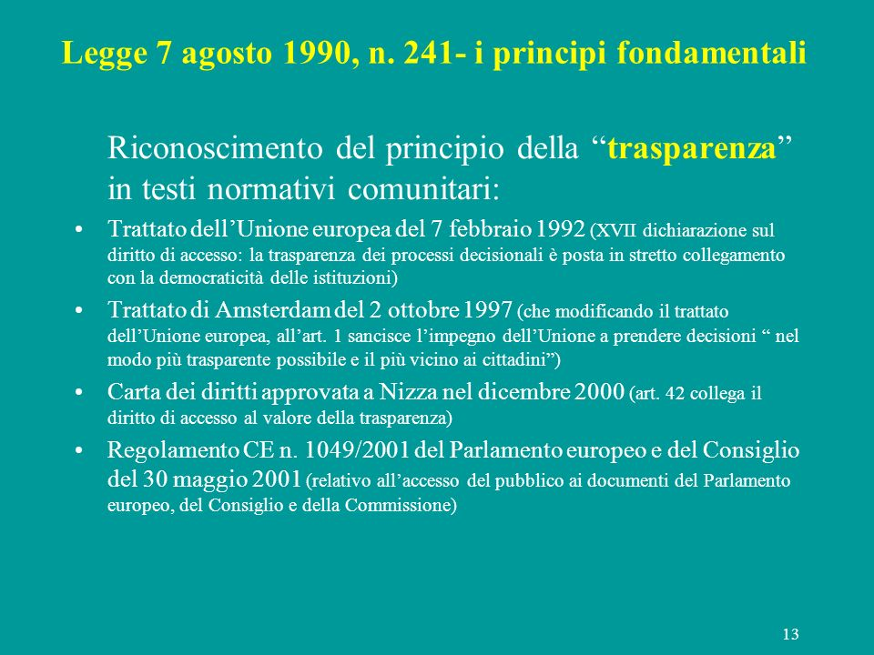 Legge 7 agosto 1990, n. 241- i principi fondamentali