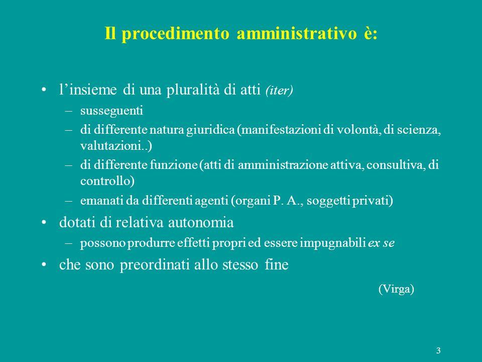 Il procedimento amministrativo è: