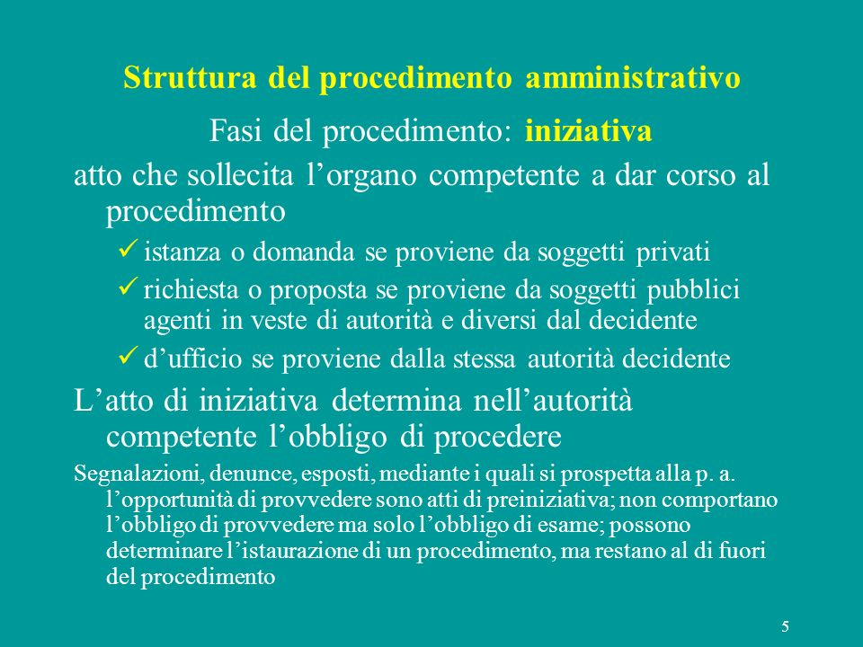 Struttura del procedimento amministrativo