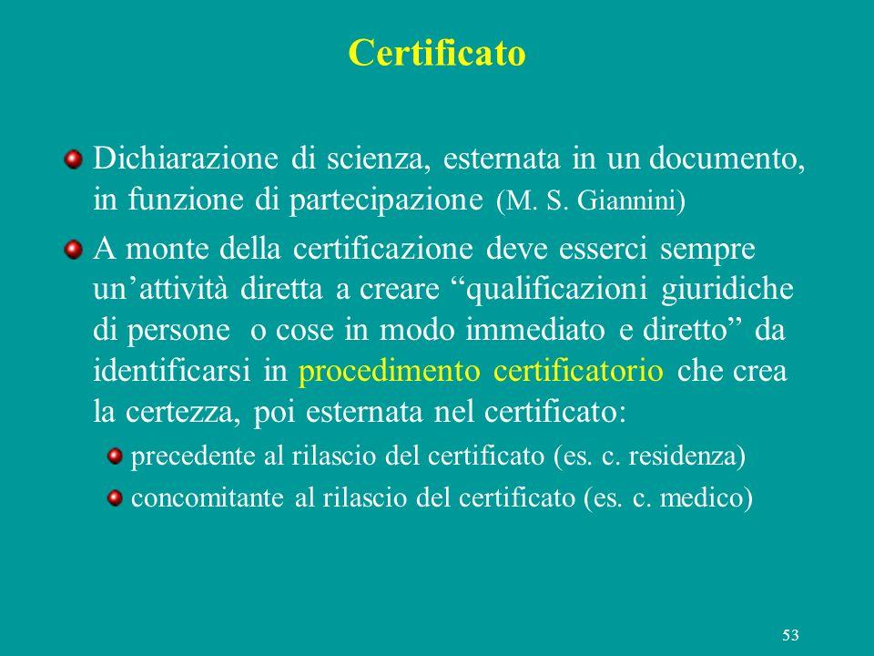 Certificato Dichiarazione di scienza, esternata in un documento, in funzione di partecipazione (M. S. Giannini)
