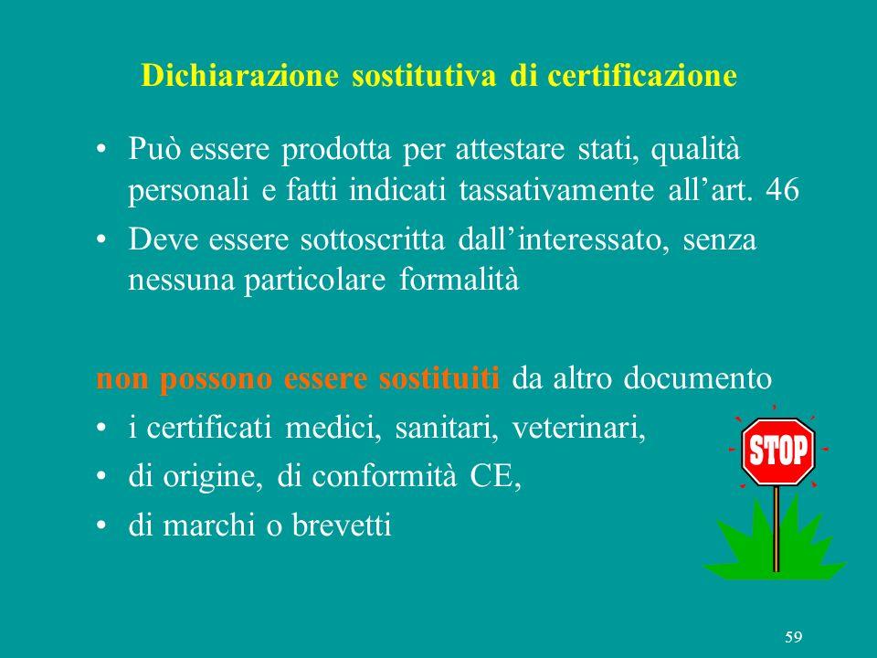 Dichiarazione sostitutiva di certificazione