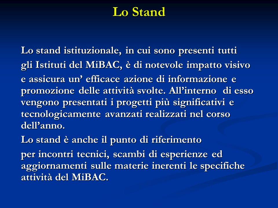 Lo Stand gli Istituti del MiBAC, è di notevole impatto visivo