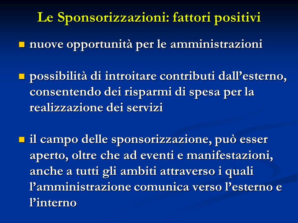 Le Sponsorizzazioni: fattori positivi