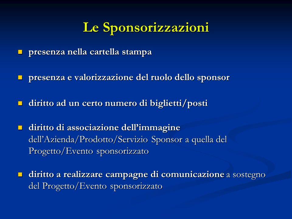 Le Sponsorizzazioni presenza nella cartella stampa