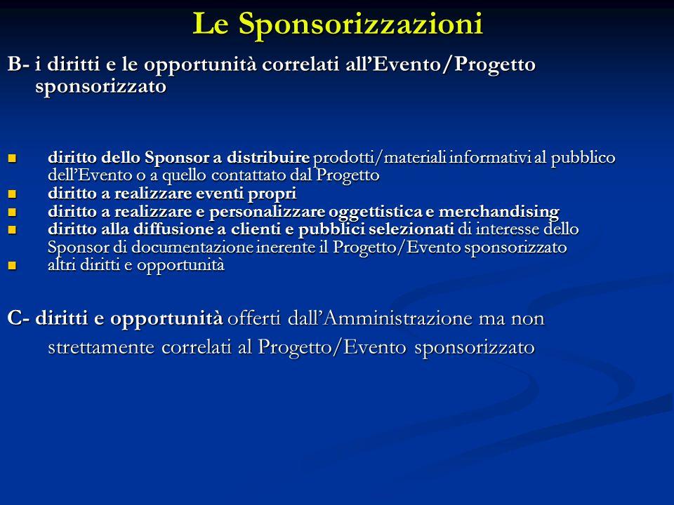 Le Sponsorizzazioni B- i diritti e le opportunità correlati all'Evento/Progetto. sponsorizzato.