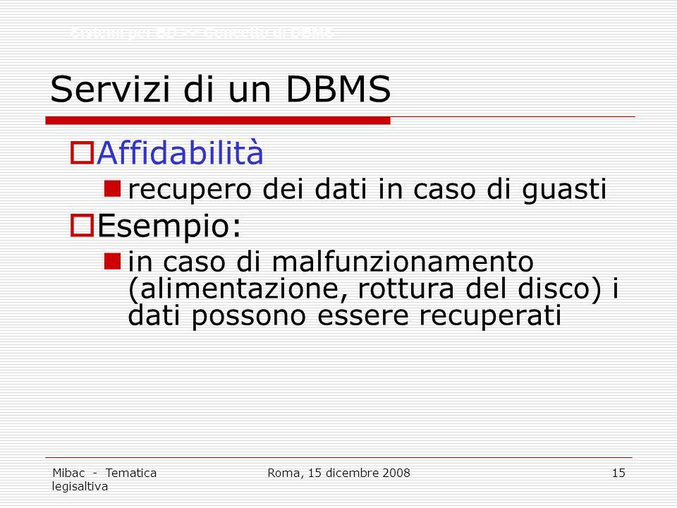 Servizi di un DBMS Affidabilità Esempio: