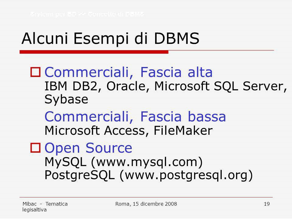 Alcuni Esempi di DBMS Sistemi per BD >> Concetto di DBMS. Commerciali, Fascia alta IBM DB2, Oracle, Microsoft SQL Server, Sybase.