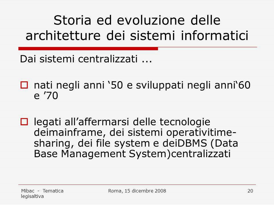 Storia ed evoluzione delle architetture dei sistemi informatici
