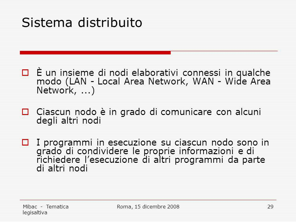 Sistema distribuito È un insieme di nodi elaborativi connessi in qualche modo (LAN - Local Area Network, WAN - Wide Area Network, ...)
