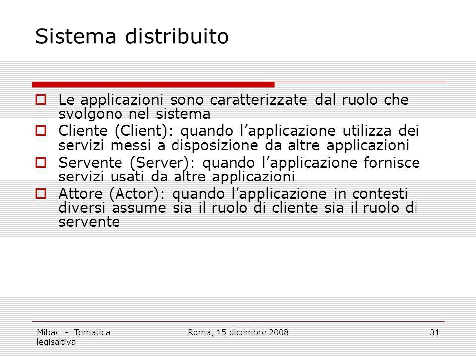 Sistema distribuito Le applicazioni sono caratterizzate dal ruolo che svolgono nel sistema.