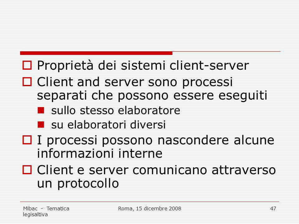 Proprietà dei sistemi client-server